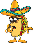 Clip Art Graphic of a Crunchy Hard Taco Character Whispering and Gossiping