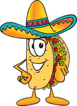 Clip Art Graphic of a Crunchy Hard Taco Character Pointing at the Viewer