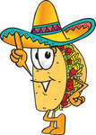 Clip Art Graphic of a Crunchy Hard Taco Character Pointing Upwards
