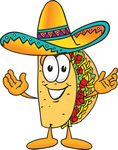 Clip Art Graphic of a Crunchy Hard Taco Character With Welcoming Open Arms