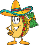 Clip Art Graphic of a Crunchy Hard Taco Character Holding a Dollar Bill