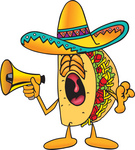Clip Art Graphic of a Crunchy Hard Taco Character Screaming Into a Megaphone