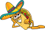 Clip Art Graphic of a Crunchy Hard Taco Character Resting His Head on His Hand