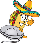 Clip Art Graphic of a Crunchy Hard Taco Character With a Computer Mouse
