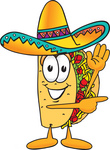 Clip Art Graphic of a Crunchy Hard Taco Character Waving and Pointing