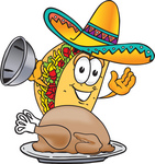 Clip Art Graphic of a Crunchy Hard Taco Character Serving a Thanksgiving Turkey on a Platter