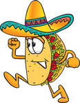 Clip Art Graphic of a Crunchy Hard Taco Character Running