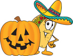 Clip Art Graphic of a Crunchy Hard Taco Character With a Carved Halloween Pumpkin