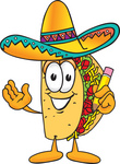 Clip Art Graphic of a Crunchy Hard Taco Character Holding a Pencil