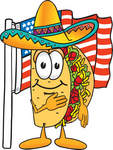 Clip Art Graphic of a Crunchy Hard Taco Character Pledging Allegiance to an American Flag