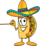 Clip Art Graphic of a Crunchy Hard Taco Character Holding a Pointer Stick
