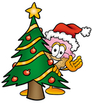 Clip Art Graphic of a Strawberry Ice Cream Cone Cartoon Character Waving and Standing by a Decorated Christmas Tree