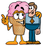 Clip Art Graphic of a Strawberry Ice Cream Cone Cartoon Character Talking to a Business Man