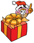 Clip Art Graphic of a Strawberry Ice Cream Cone Cartoon Character Standing by a Christmas Present