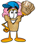 Clip Art Graphic of a Strawberry Ice Cream Cone Cartoon Character Catching a Baseball With a Glove