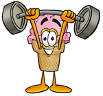 Clip Art Graphic of a Strawberry Ice Cream Cone Cartoon Character Holding a Heavy Barbell Above His Head