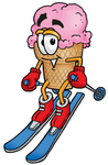 Clip Art Graphic of a Strawberry Ice Cream Cone Cartoon Character Skiing Downhill