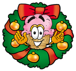 Clip Art Graphic of a Strawberry Ice Cream Cone Cartoon Character in the Center of a Christmas Wreath