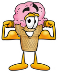 Clip Art Graphic of a Strawberry Ice Cream Cone Cartoon Character Flexing His Arm Muscles