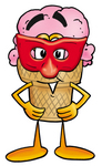 Clip Art Graphic of a Strawberry Ice Cream Cone Cartoon Character Wearing a Red Mask Over His Face