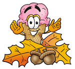 Clip Art Graphic of a Strawberry Ice Cream Cone Cartoon Character With Autumn Leaves and Acorns in the Fall