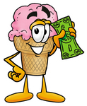Clip Art Graphic of a Strawberry Ice Cream Cone Cartoon Character Holding a Dollar Bill