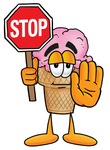 Clip Art Graphic of a Strawberry Ice Cream Cone Cartoon Character Holding a Stop Sign