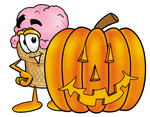Clip Art Graphic of a Strawberry Ice Cream Cone Cartoon Character With a Carved Halloween Pumpkin
