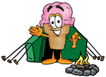 Clip Art Graphic of a Strawberry Ice Cream Cone Cartoon Character Camping With a Tent and Fire