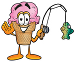 Clip Art Graphic of a Strawberry Ice Cream Cone Cartoon Character Holding a Fish on a Fishing Pole