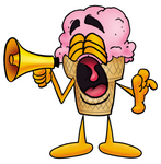 Clip Art Graphic of a Strawberry Ice Cream Cone Cartoon Character Screaming Into a Megaphone