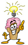 Clip Art Graphic of a Strawberry Ice Cream Cone Cartoon Character With a Bright Idea