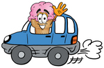 Clip Art Graphic of a Strawberry Ice Cream Cone Cartoon Character Driving a Blue Car and Waving