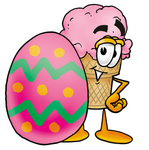 Clip Art Graphic of a Strawberry Ice Cream Cone Cartoon Character Standing Beside an Easter Egg