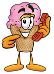 Clip Art Graphic of a Strawberry Ice Cream Cone Cartoon Character Holding a Telephone