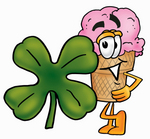 Clip Art Graphic of a Strawberry Ice Cream Cone Cartoon Character With a Green Four Leaf Clover on St Paddy's or St Patricks Day