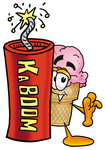 Clip Art Graphic of a Strawberry Ice Cream Cone Cartoon Character Standing With a Lit Stick of Dynamite