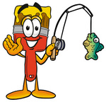 Clip Art Graphic of a Red Paintbrush With Yellow Paint Cartoon Character Holding a Fish on a Fishing Pole