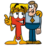 Clip Art Graphic of a Red Paintbrush With Yellow Paint Cartoon Character Talking to a Business Man