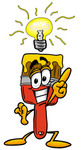 Clip Art Graphic of a Red Paintbrush With Yellow Paint Cartoon Character With a Bright Idea