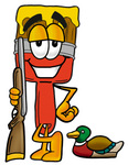 Clip Art Graphic of a Red Paintbrush With Yellow Paint Cartoon Character Duck Hunting, Standing With a Rifle and Duck
