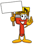 Clip Art Graphic of a Red Paintbrush With Yellow Paint Cartoon Character Holding a Blank Sign
