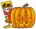 Clip Art Graphic of a Red Paintbrush With Yellow Paint Cartoon Character With a Carved Halloween Pumpkin