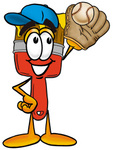 Clip Art Graphic of a Red Paintbrush With Yellow Paint Cartoon Character Catching a Baseball With a Glove