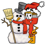 Clip Art Graphic of a Red Paintbrush With Yellow Paint Cartoon Character With a Snowman on Christmas