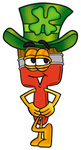 Clip Art Graphic of a Red Paintbrush With Yellow Paint Cartoon Character Wearing a Saint Patricks Day Hat With a Clover on it