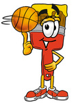 Clip Art Graphic of a Red Paintbrush With Yellow Paint Cartoon Character Spinning a Basketball on His Finger
