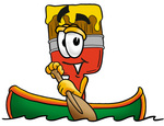 Clip Art Graphic of a Red Paintbrush With Yellow Paint Cartoon Character Rowing a Boat