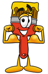 Clip Art Graphic of a Red Paintbrush With Yellow Paint Cartoon Character Flexing His Arm Muscles