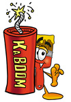 Clip Art Graphic of a Red Paintbrush With Yellow Paint Cartoon Character Standing With a Lit Stick of Dynamite